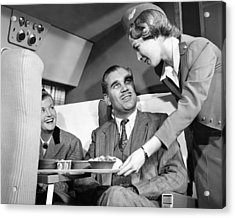 Stewardess Serving Food Acrylic Print by Underwood Archives