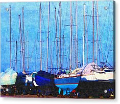 Still In Storage North Muskegon Marina  Acrylic Print by Rosemarie E Seppala