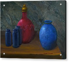 Still Life Art Blue And Red Jugs And Bottles Acrylic Print