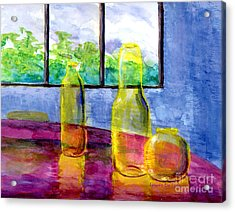 Still Life Art Bright Yellow Bottles And Blue Wall Acrylic Print