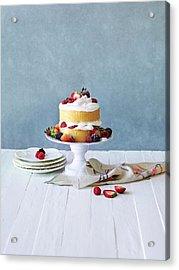 Still Life Berry Cream Layer Cake Acrylic Print by Annabelle Breakey