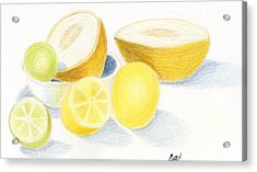 Still Life - Citrus Fruit With Melons Acrylic Print by Bav Patel