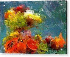 Still Life Fruits In Vase Acrylic Print by Yury Malkov