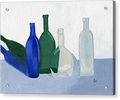 Still Life - Glass Bottles Acrylic Print by Bav Patel