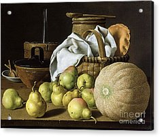Still-life  Melon And Pears Acrylic Print by Pg Reproductions