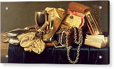 Still Life Of A Jewellery Casket Books And Oysters Acrylic Print