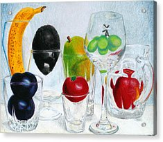 Still Life Of Fruit In Glasses Acrylic Print by Christina Boyt