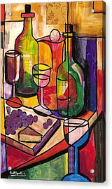 Still Life Of Fruit Wine And Cheese Acrylic Print
