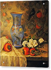 Still Life Of Persimmons  Acrylic Print by Donna Tucker