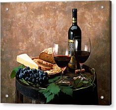 Still Life Of Wine Bottle, Wine Acrylic Print by Panoramic Images