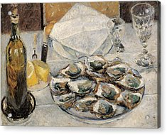 Still Life Oysters Acrylic Print by Gustave Caillebotte