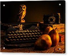 Still Life - Pears And Typewriter Acrylic Print by Jon Woodhams