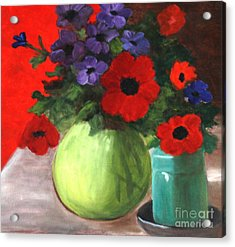 Still Life Poppies And Purple Things Acrylic Print by Sherrill McCall