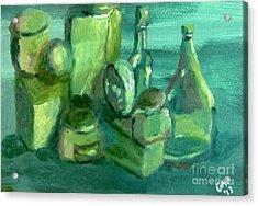 Still Life Study In Green Acrylic Print by Greg Mason Burns