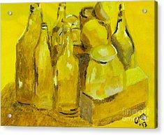 Still Life Study In Yellow Acrylic Print by Greg Mason Burns