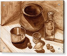 Acrylic Print featuring the painting Still Life Walnut Ink by Mukta Gupta