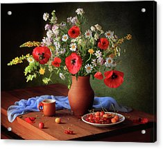 Still Life With A Bouquet Of Meadow Flowers Acrylic Print