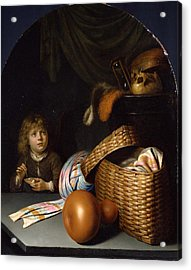 Still Life With A Boy Blowing Soap-bubbles Acrylic Print by Gerrit Dou
