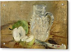 Still Life With A Cut Apple And A Pitcher Acrylic Print by Berthe Morisot
