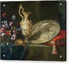 Still Life With A Gilded Ewer Acrylic Print by Meiffren Conte