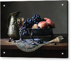 Still Life With A Jug And Fruit And A Shell. Acrylic Print by Helen Tatulyan