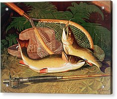 Still Life With A Salmon Trout, A Rod And A Net Acrylic Print by Thomas Sedgwick Steele