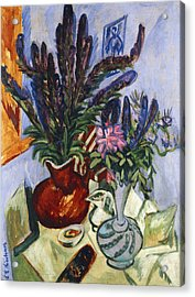 Still Life With A Vase Of Flowers Acrylic Print