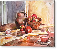 Still Life With Apples Acrylic Print by Becky Kim