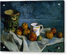 Still Life With Apples Cup And Pitcher Acrylic Print