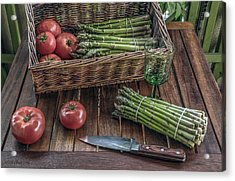 Still Life With Asparagus And Tomatoes Acrylic Print