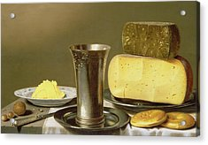 Still Life With Beaker Cheese Butter And Biscuits Acrylic Print