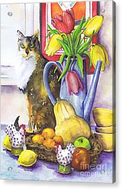 Acrylic Print featuring the painting Still Life With Cat by Susan Herbst
