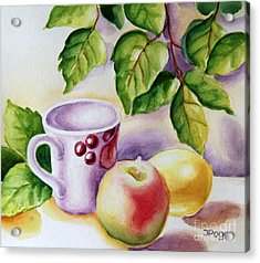 Still Life With Cup And Fruits Acrylic Print by Inese Poga