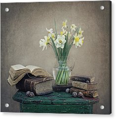 Still Life With Daffodils, Old Books And Snails Acrylic Print