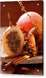 Still Life With Dates, Star Anise, Cinnamon, Granadilla And Mango Acrylic Print