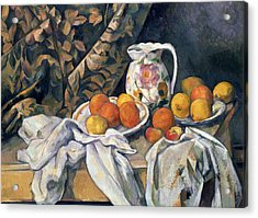 Still Life With Drapery Acrylic Print by Paul Cezanne