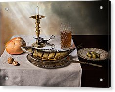 Still Life With Fish-bread-olives And Snuffed Candle Acrylic Print