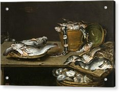 Still Life With Fish Oysters And A Cat Acrylic Print