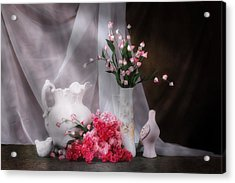Still Life With Flowers And Birds Acrylic Print by Tom Mc Nemar