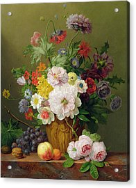 Still Life With Flowers And Fruit Acrylic Print by Anthony Obermann