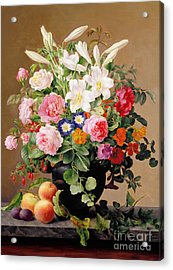 Still Life With Flowers And Fruit Acrylic Print