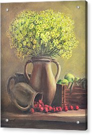 Still Life With Flowers And Fruits Acrylic Print by Gynt Art