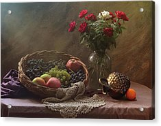 Still Life With Fruit And Roses Acrylic Print