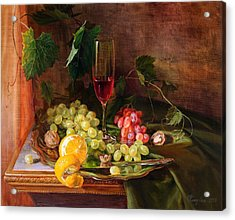 Still Life With Grapes And Grapevine Acrylic Print