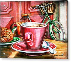 Acrylic Print featuring the painting Still Life With Green Dutch Bike by Mark Howard Jones