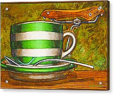 Acrylic Print featuring the painting Still Life With Green Stripes And Saddle  by Mark Howard Jones