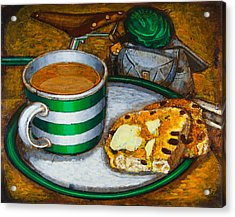 Acrylic Print featuring the painting Still Life With Green Touring Bike by Mark Howard Jones