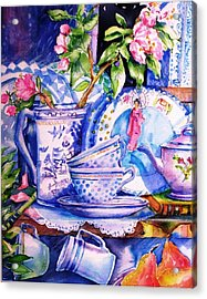 Still Life With  Japanese Plate And Apple Blossom  Acrylic Print by Trudi Doyle