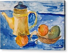 Still Life With Kettle And Apples Aquarelle Acrylic Print by Kiril Stanchev