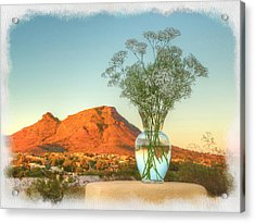 Still Life With Landscape Acrylic Print by Rick Lloyd